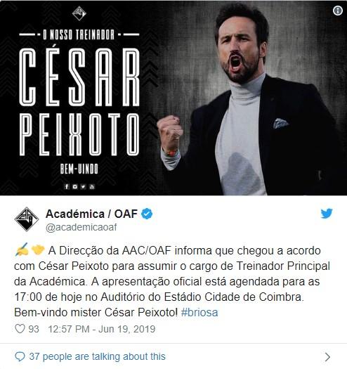 Desporto | César Peixoto é o novo treinador da Académica