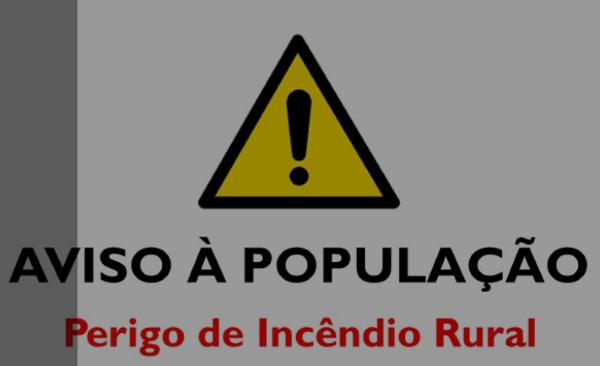 AVISO À POPULAÇÃO: PERIGO DE INCÊNDIO RURAL