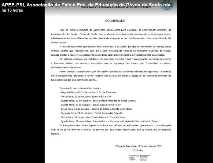 Agrupamento de Escolas da Póvoa de Santa Iria encerra escolas rotativamente por falta de funcionários