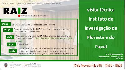 Aveiro | VISITA TÉCNICA »» RAIZ – Instituto de Investigação da Floresta e Papel | Quinta de S. Francisco | 13 de Novembro 2019 | 15H00