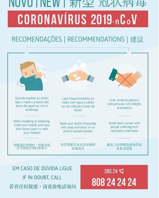 Recomendações da DGS para evitar infeção pelo COVID-19