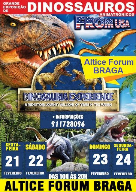 Trex, Stegosaurus, entre outros dinossauros invadem o Altice Forum Braga