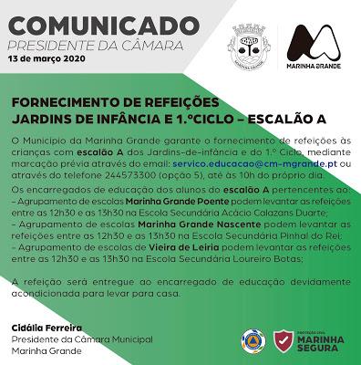 Marinha Grande | COMUNICADO: FORNECIMENTO REFEIÇÕES JARDINS DE INFÂNCIA E 1.º CICLO – ESCALÃO A