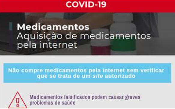 COVID-19: Infarmed alerta para medicamentos falsificados na internet