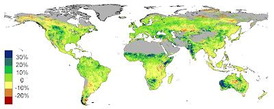 Terra reverdece com aumento de CO2
