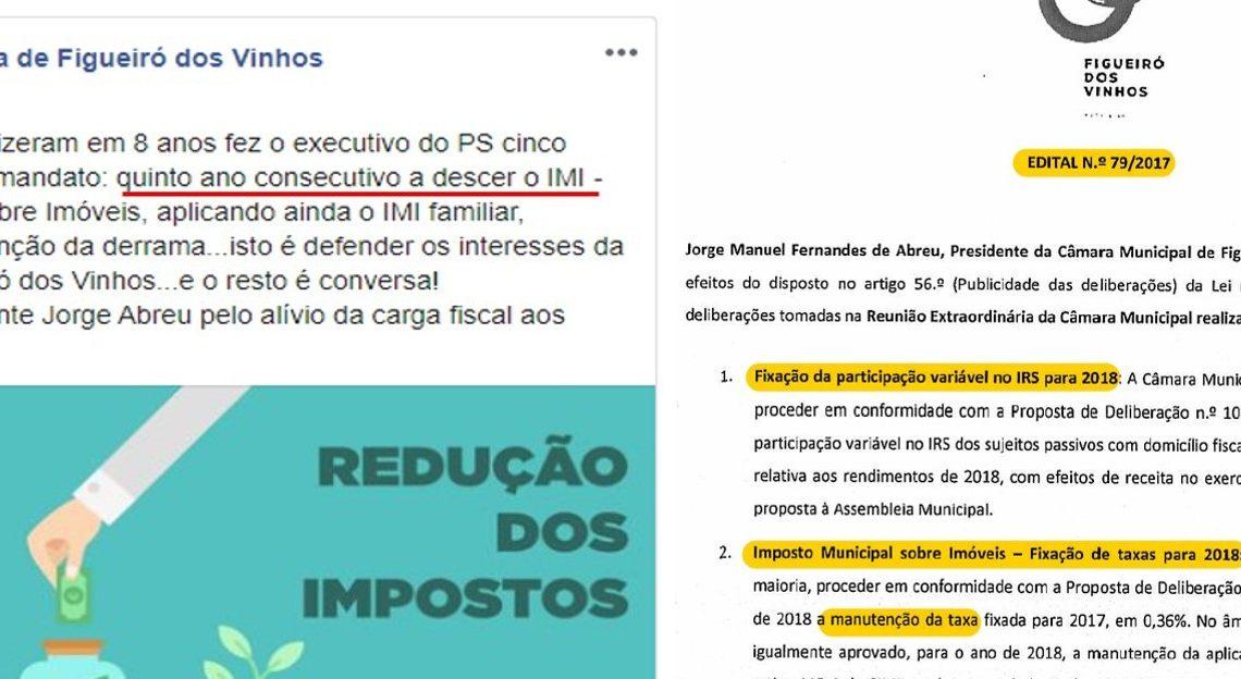 Figueiró dos Vinhos | As mentiras socialistas continuam. Depois do IRS vem agora o IMI
