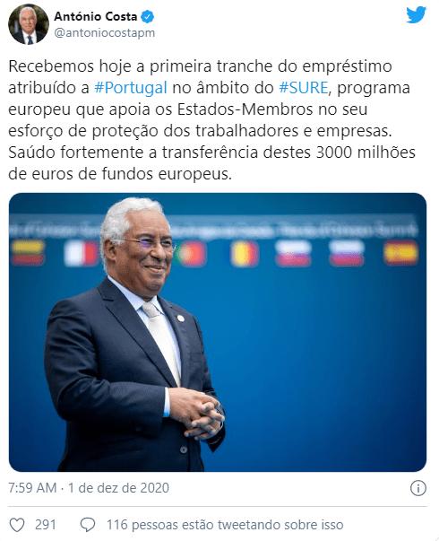 Portugal recebeu uma tranche de três mil milhares de euros do programa europeu