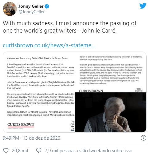 Morreu o escritor John le Carré aos 89 anos