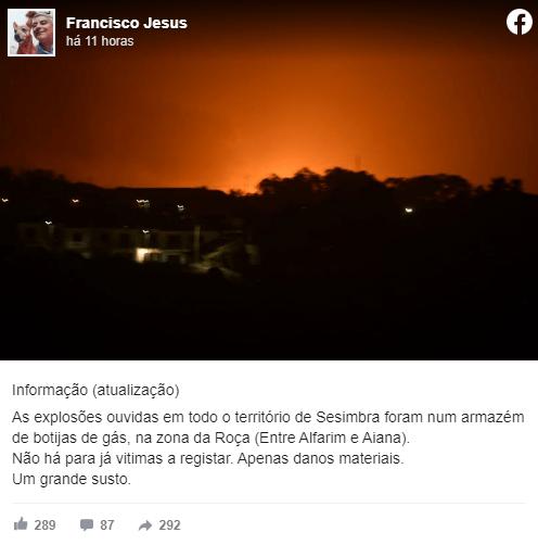 Várias explosões em Sesimbra em incêndio que atingiu botijas de gás