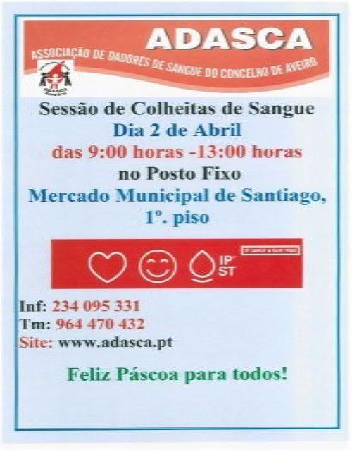 A ADASCA realiza sessão de colheitas de sangue dia 2 de Abril entre as 9 e as 13 horas