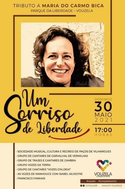 """Vouzela   """"Um Sorriso de Liberdade"""": Espetáculo de tributo a Maria do Carmo Bica realiza-se a 30 de maio"""