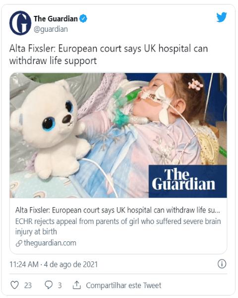 Tribunal europeu autoriza hospital do Reino Unido a retirar o suporte de vida a bebé