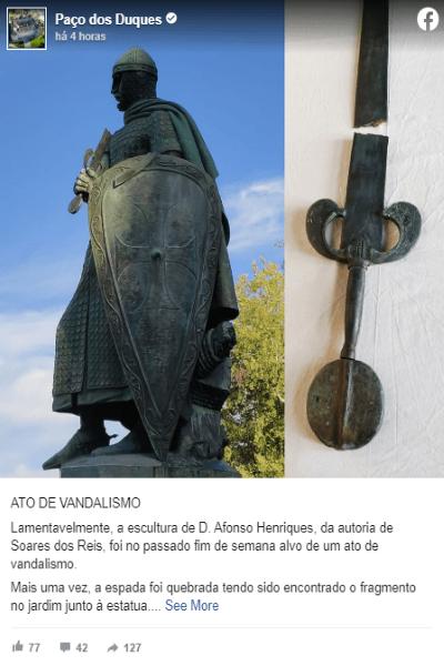 """Estátua de D. Afonso Henriques em Guimarães sem espada após """"ato de vandalismo"""""""