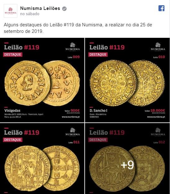 Numisma leva a leilão sete moedas de ouro avaliadas em 200 mil euros