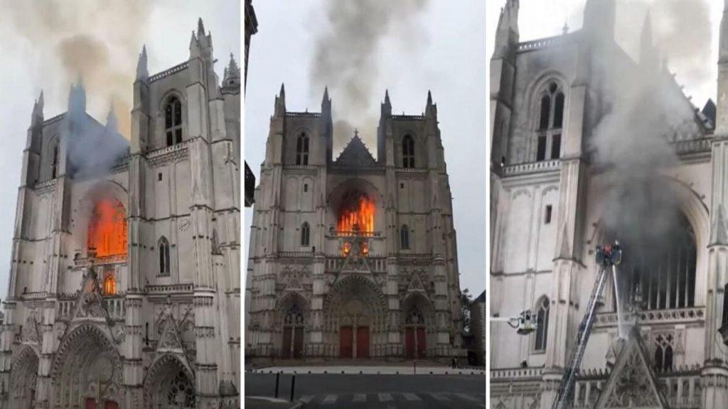 """Nesta """"onda"""" demolidora de estátuas e igrejas, o incêndio na Catedral de Nantes"""