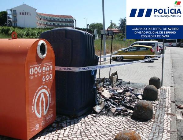 OVAR: Detido, em flagrante, por fogo posto em ecoponto