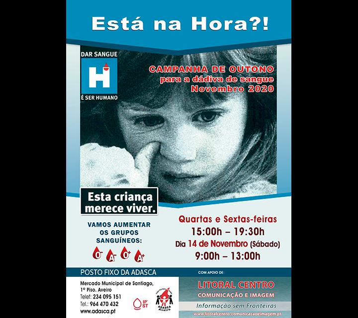 Sessões de Colheitas de Sangue para Novembro no Posto Fixo da ADASCA em Aveiro