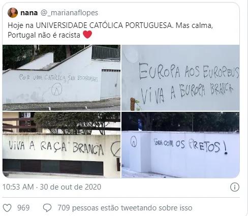 Universidade Católica, ISCTE e várias escolas secundárias vandalizadas com mensagens racistas