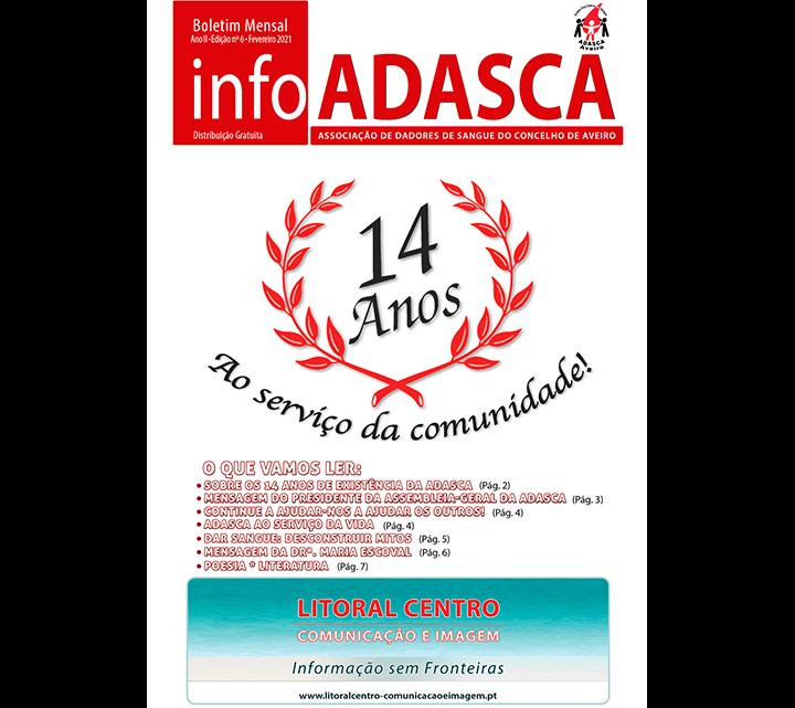 Boletim InfoADASCA, Edição Nº. 6 de Fevereio de 2021 sobre o 14º. Aniversário da ADASCA