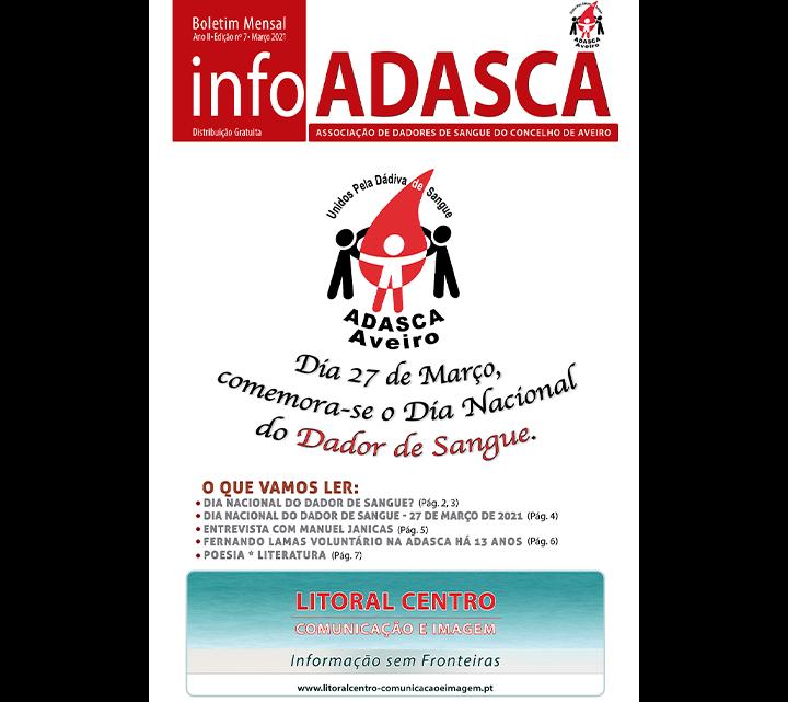 Boletim InfoADASCA, Edição Nº. 7 de Março de 2021 dedicado ao Dia Nacional do Dador de Sangue