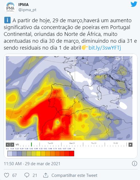 Alerta:DGS alerta para fraca qualidade do ar devido a massa do Norte de África
