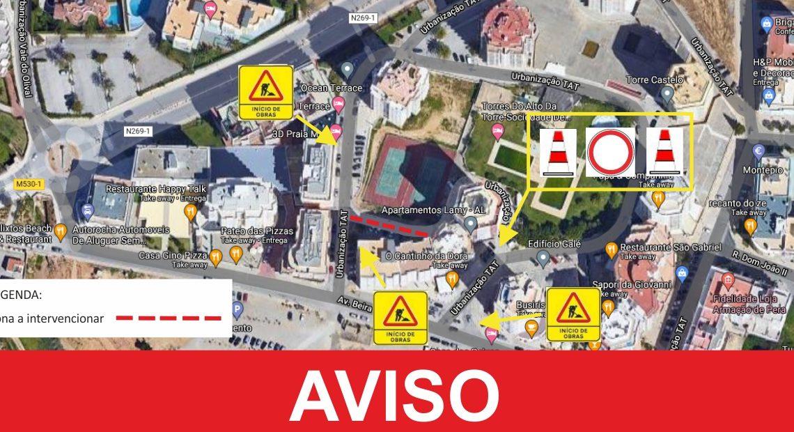 Silves | Requalificação dos arruamentos e infraestruturas obrigam a plano de sinalização temporário na urbanização torres do Alto da Torre