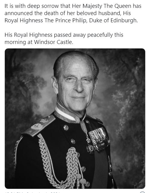 Morreu o príncipe Filipe, marido da rainha Isabel II