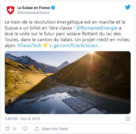 A primeira central solar flutuante do mundo em alta altitude fica na Suíça