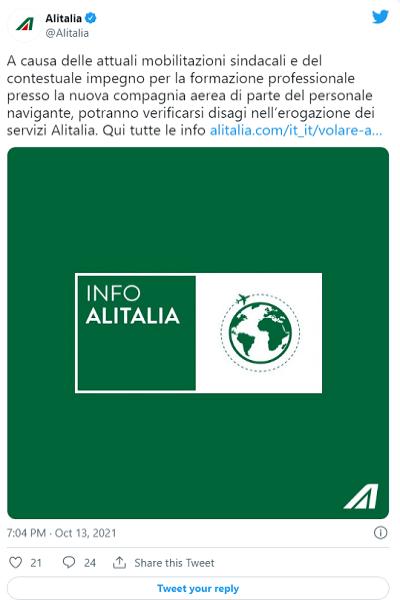 Último dia da Alitalia
