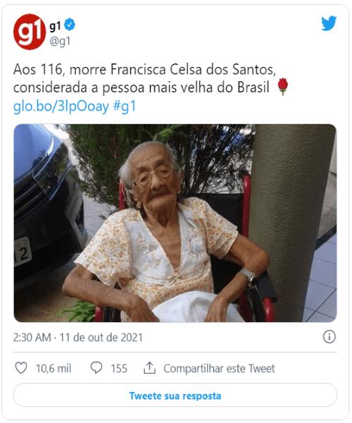 Francisca Celsa passou por duas pandemias. Mulher mais idosa do Brasil morre aos 116 anos